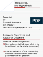 Research Objectives, Questions Hypothesis