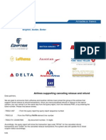 Airlines Supporting Canceling Reissue and Refund