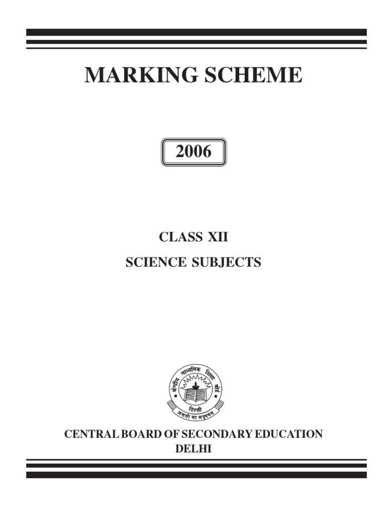 Marking Scheme: Class Xii Science Subjects