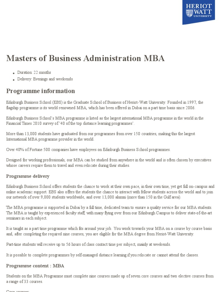 Masters Business Administration | Master Of Business Administration |  Qualifications