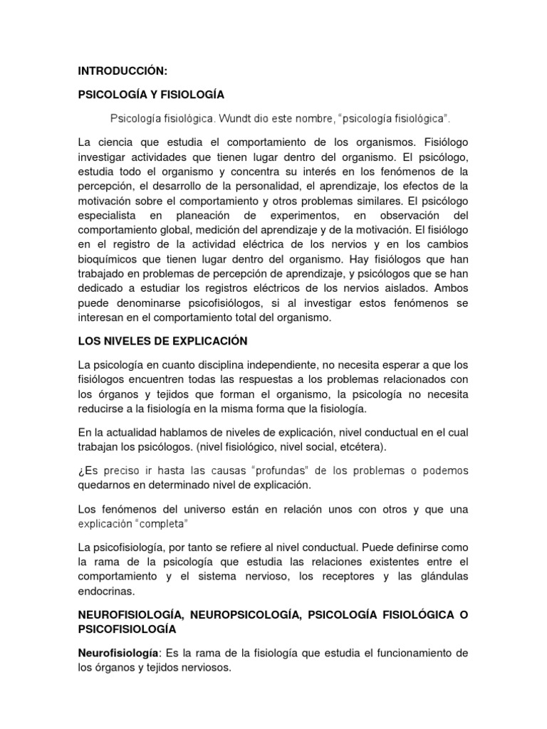 PSICOLOGÍA Y FISIOLOGÍA