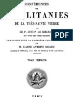 Conférences sur les litanies de la Très-Sainte Vierge - P. Justin de Miecklow - ( tome 1 )