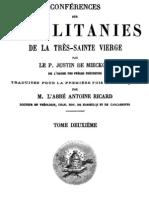 Conférences sur les litanies de la Très-Sainte Vierge - P. Justin de Miecklow - ( tome 2 )