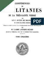 Conférences sur les litanies de la Très-Sainte Vierge - P. Justin de Miecklow - ( tome 5 )