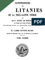 Conférences sur les litanies de la Très-Sainte Vierge - P. Justin de Miecklow - ( tome 6 )