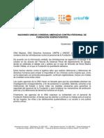 Solidaridad de agencias Naciones Unidas con personal de Fundación Sobrevivientes