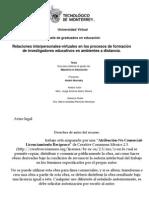 Relaciones Interpersonales-Virtuales en los procesos de Formación de Investigadores en Ambientes a Distancia