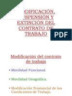 Modificación, Suspensión y Extinción del contrato de trabajo