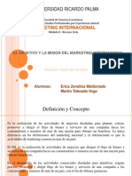 Expo Sic Ion 1 Objetivo y Mision Del Marketing Internacional Mkt Internacional