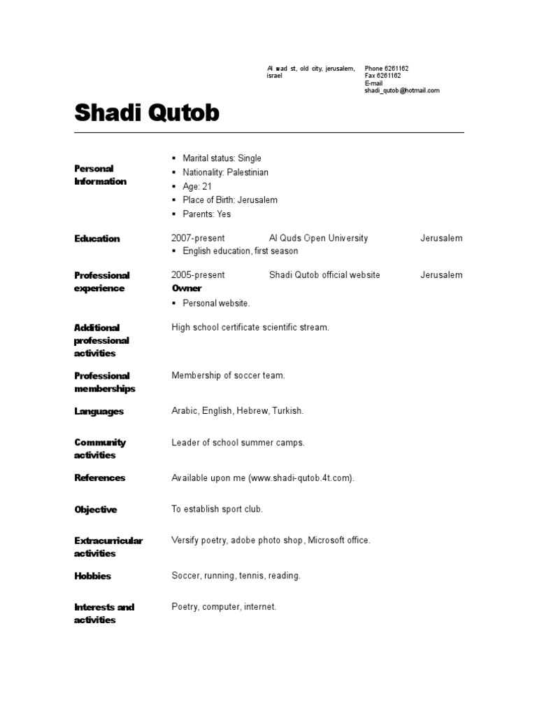 Shadi Resume Format Doc  Images Doc  Resumes Format