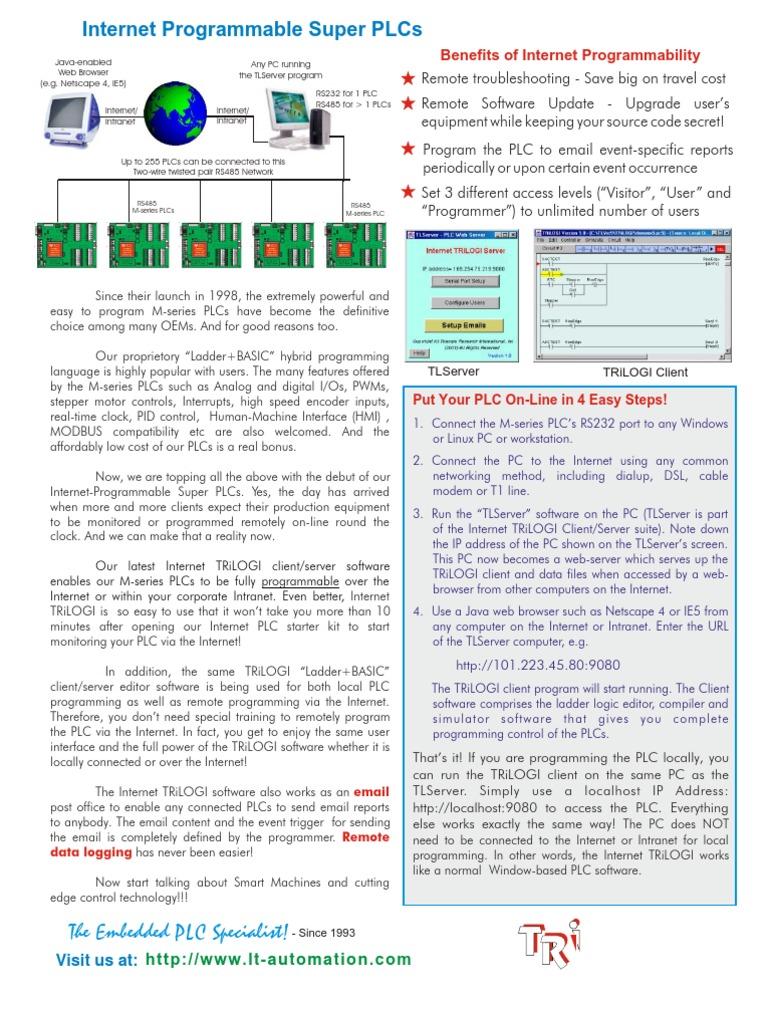 2) T100MD PLC Brochure | Programmable Logic Controller | Server