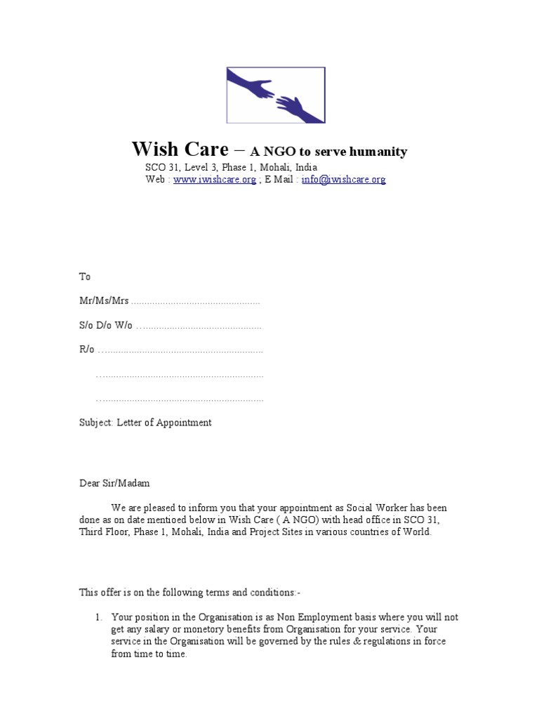 Appointment Letter Social Workers Signature Welfare