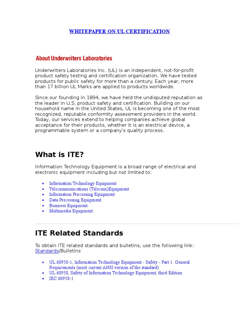 White paper on ul certification safety science xflitez Gallery