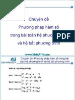 chuyên đề phương pháp hàm số trong bài toán hệ phương trình và bất phương trình