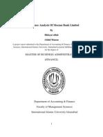 Meezan Bank Analysis (2005 -2010) by Hidayat and Mnana of International Islamic University Islamabad