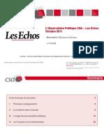 L'Observatoire politique CSA-Les Echos - Octobre 2011