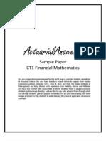 Actuarial CT1 Financial Mathematics Sample Paper 2011