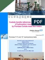 Custody Transfer References Promass