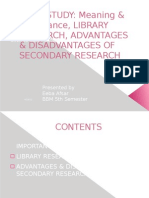 Pilot Study, Library Research, Adv & Disadvantages of Secondary Research