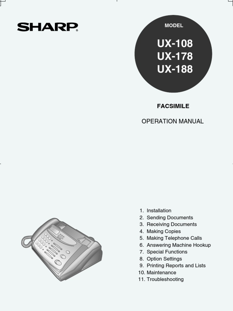 Sharp ux-108 user manual.