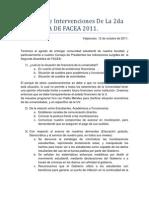 Apuntes de Intervenciones de La 2da ASAMBLEA de FACEA
