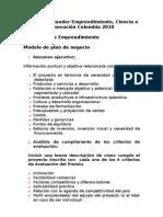 Modelo Plan de Negocio - Premio 2010