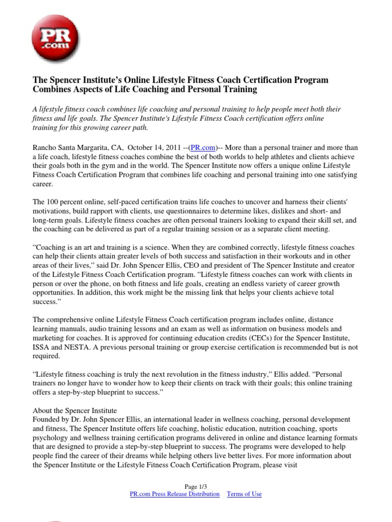 The spencer institutes online lifestyle fitness coach the spencer institutes online lifestyle fitness coach certification program combines aspects of life coaching and personal training personal trainer 1betcityfo Image collections