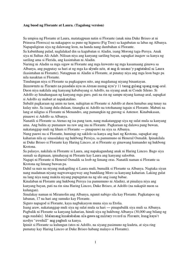 book report ng florante at laura tagalog Philippine literature: ang panitikan ng pilipinas  buod ng florante at laura  isa sa mga pangunahing makata ng tagalog ay naghanda ng isang katipunan ng mga.