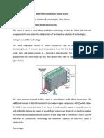 Multi Effect Distillation for Sea Water