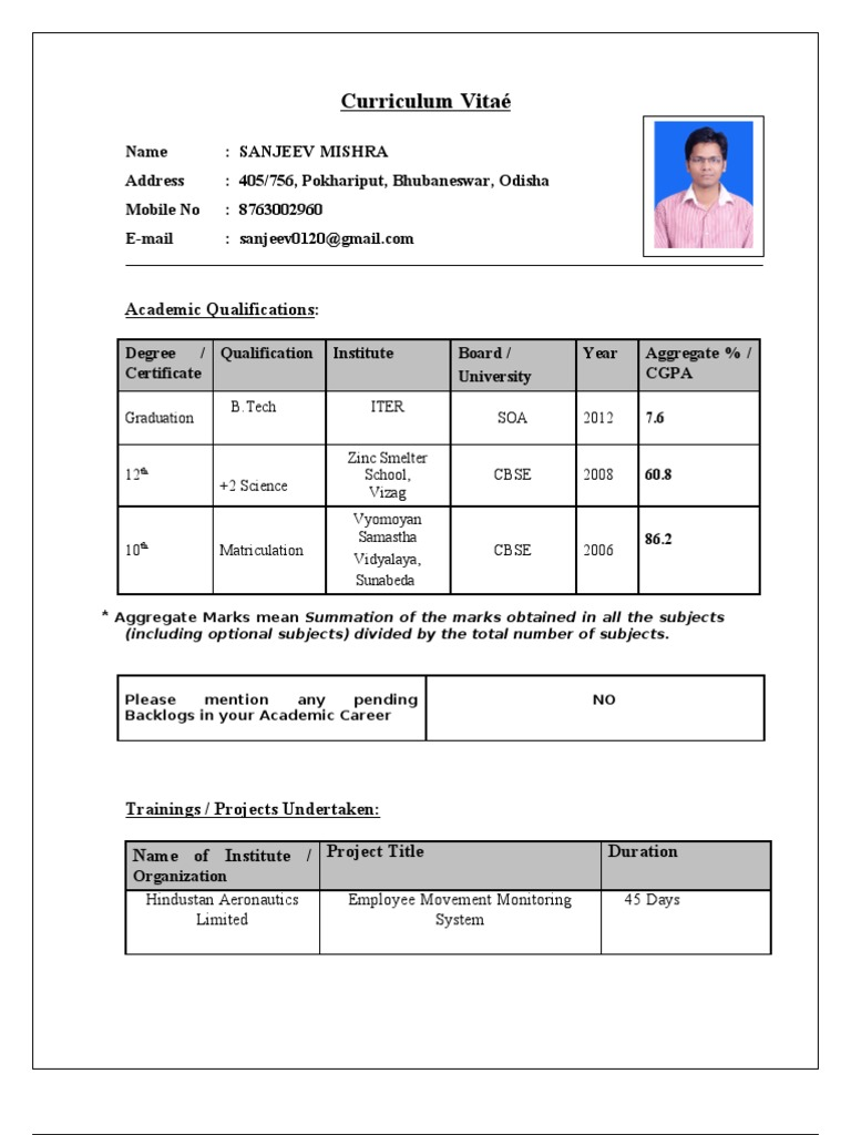 cv for tcs - Resume Format Pdf