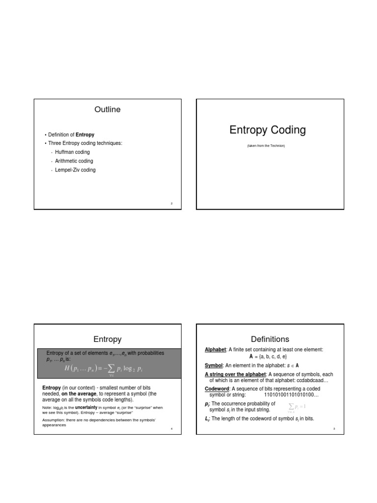 Entropy Code Theoretical Computer Science
