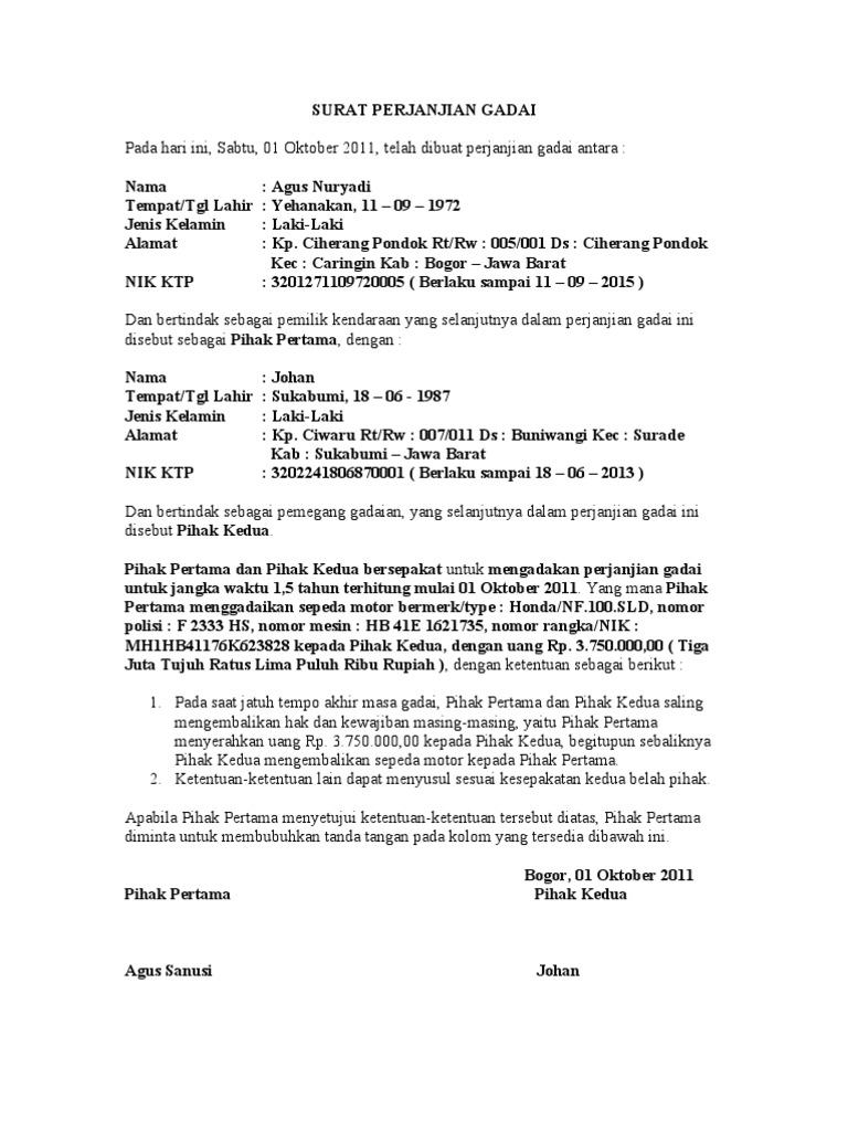 Contoh Surat Perjanjian Gadai Mobil Masih Kredit Yang Sah Aneka Contoh Surat Yang Baik Dan Benar