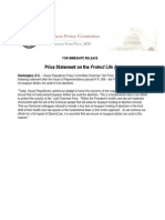 Price Statement on the Protect Life Act