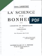 Lakhovsky - La Science Et Le Bonheur (1930)