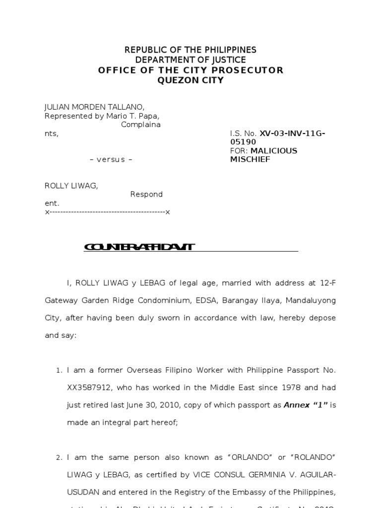 Counter Affidavit Malicious Mischief Land Lot Affidavit