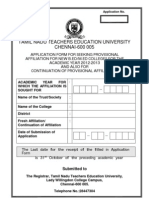 APPLICATION FORM FOR SEEKING PROVISIONAL AFFILIATION FOR NEW B.ED/M.ED COLLEGES