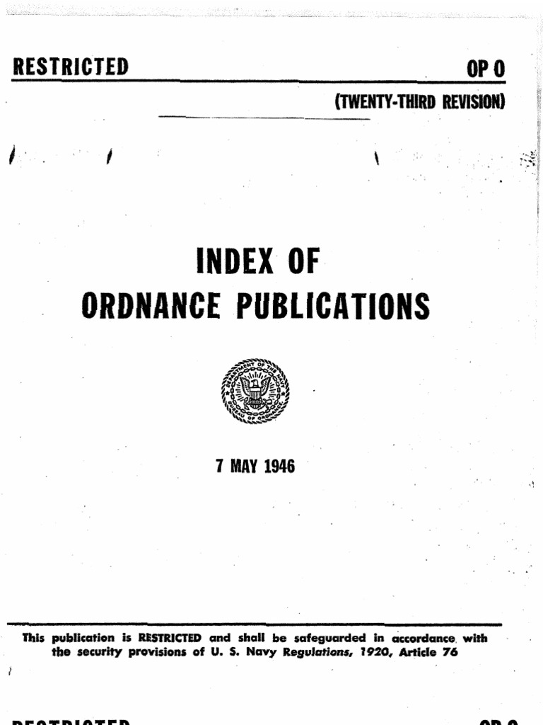 op 0 index of ordnance publications twenty third rev 7 may 1946 rh scribd com Navy Aviation Ordnance Logo Aviation Ordnance Symbol