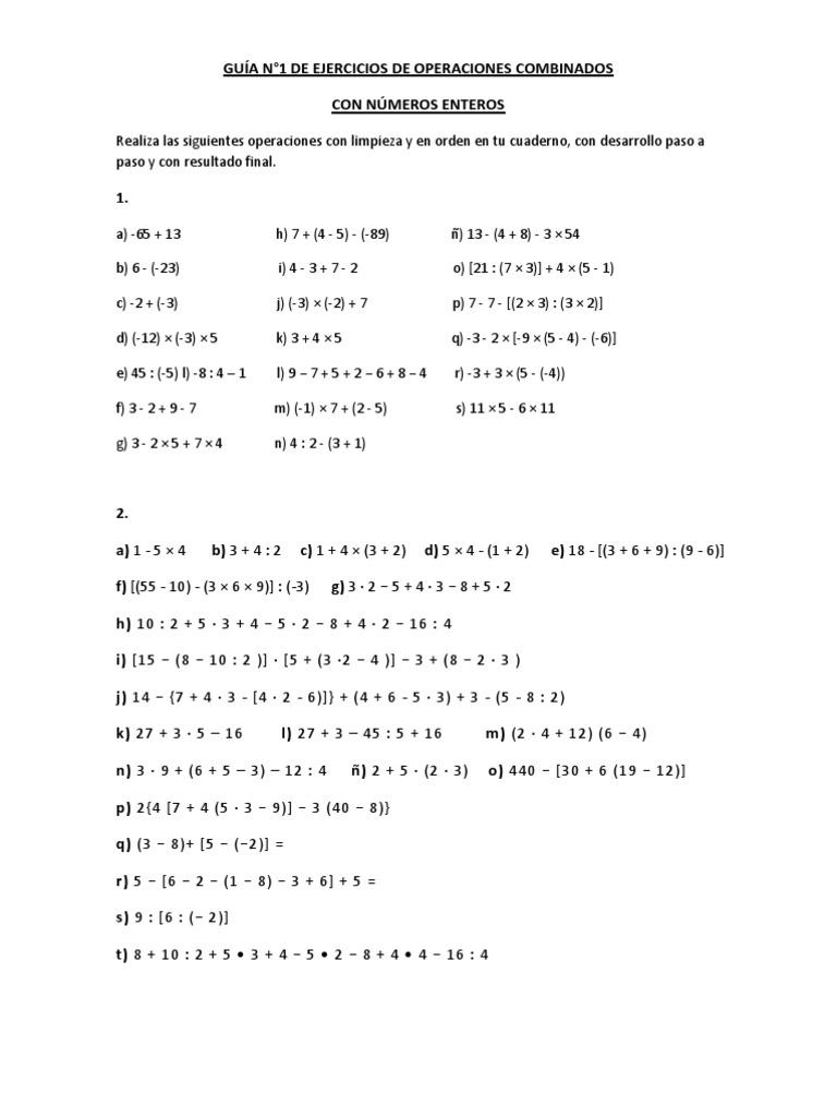 Guía N 1 De Ejercicios De Operaciones Combinados Entero Enseñanza De Matemática