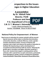 Prof. Vibhuti Patel on Gender Perspectives to the Issues and Challenges in Higher Education 18-10-2011