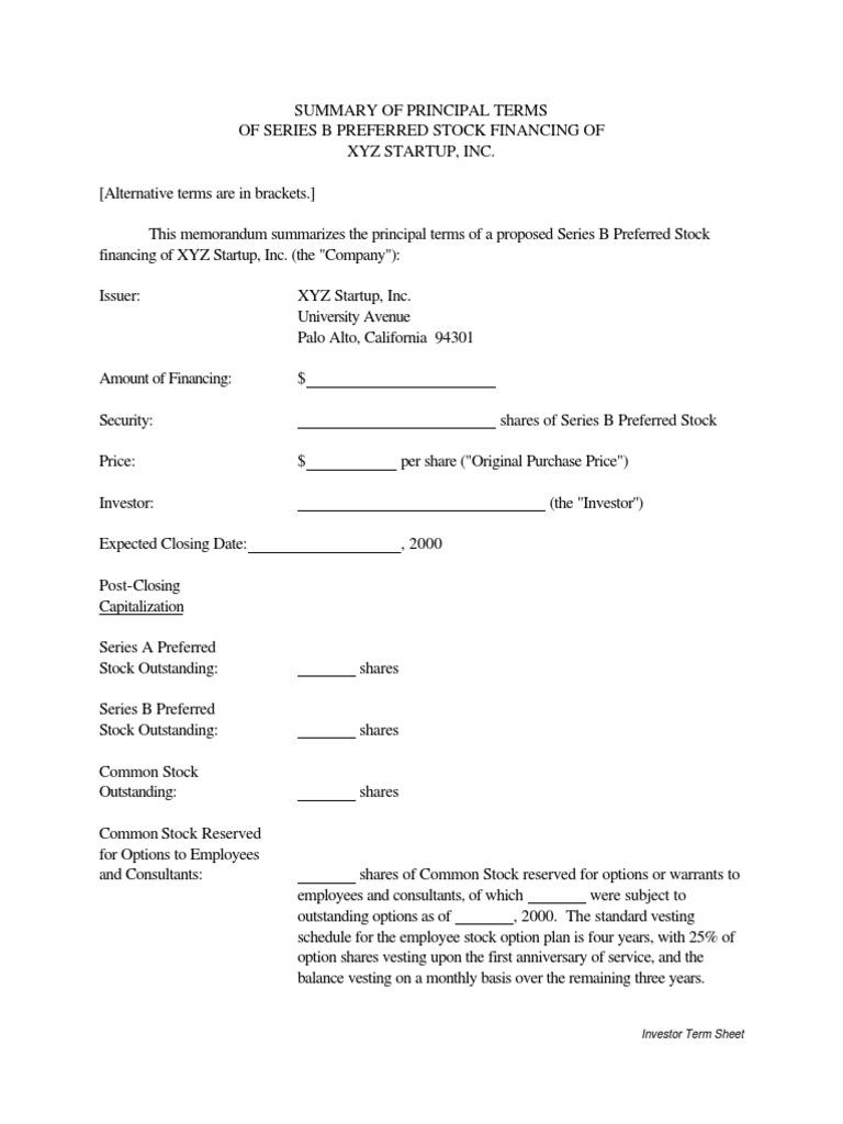 vc term sheet