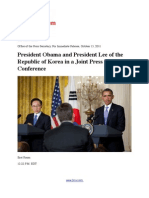 President Obama and President Lee of the Republic of Korea in a Joint Press Conference