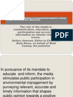 The Role of the Media in Communication, education and public access to information on climate change issues