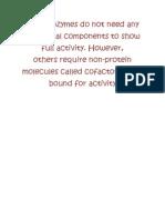 Enzymes Cofactors Biochem Report on Sept 11 2010