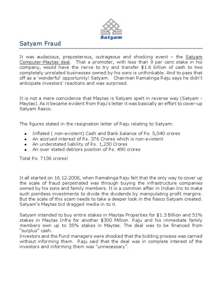 Satyam Fraud A Summary Companies – Ramalinga Raju Resignation Letter