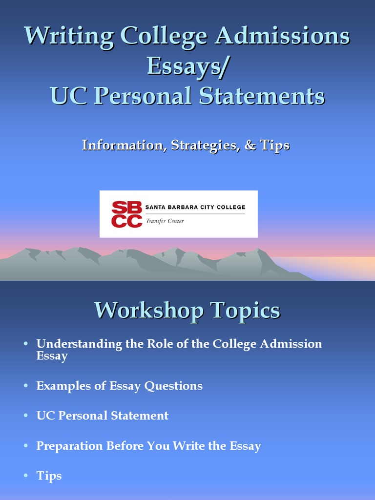 sbcc personal statement workshop