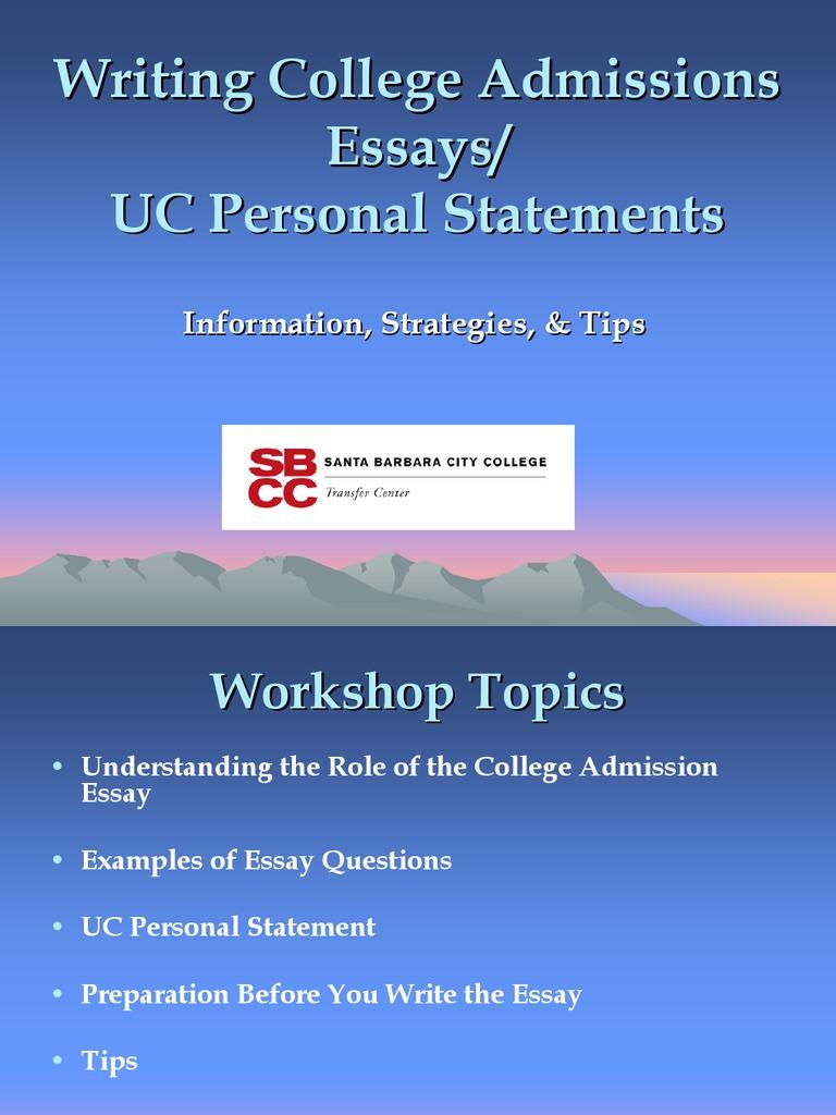sbcc personal statement workshop