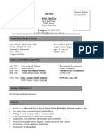 Example of RESUME to complete your registration