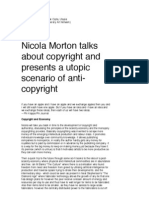 Nicola Morton talks about copyright and  presents a utopic scenario of anti-copyright