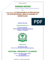 THE ROLE OF ERGONOMICS IN PREVENTION OF OCCUPATIONAL HEALTH HAZARD AT WORKPLACE