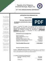 2012 Draft Anual Budget